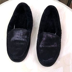 Abeo Leather Fur Slippers NWOT 9